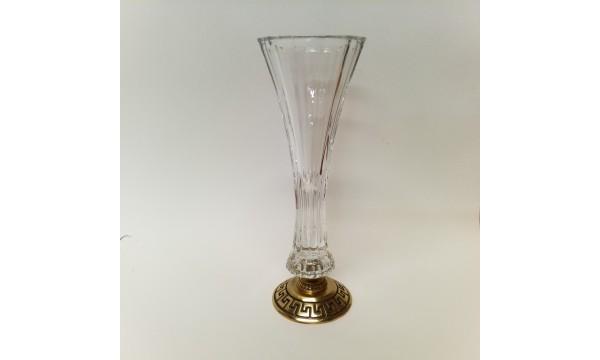 Krištolinė vazelė dekoruota žalvariu