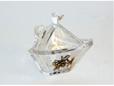 Krištolinė cukrinė dekoruota žalvariu