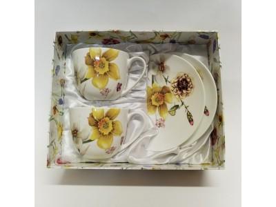 """Puodelių su lėkštutėmis komplektas arbatai dviems """"Narcizai"""""""