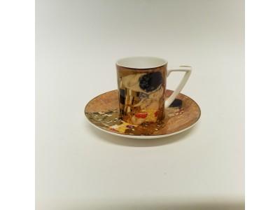 """espresso puodelis su lėkštute - """"Bučinys"""" Klimtas"""