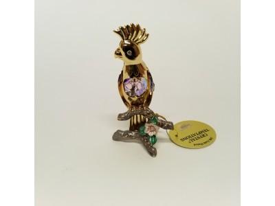 Papūga - statulėlė su Swarovski kristalais