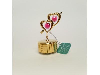 Širdys - grojanti statulėlė su Swarovski kristalais