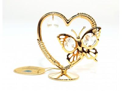 Drugelis širdyje - statulėlė su Swarovski kristalais