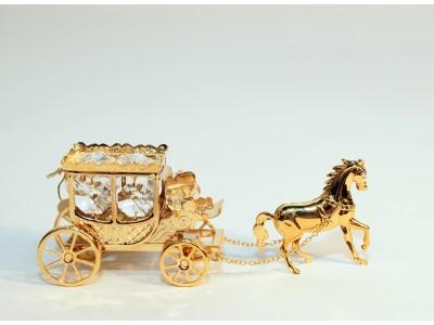 Karieta su arkliuku - statulėlė su Swarovski kristalais