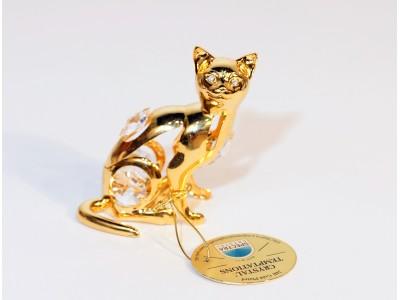 Katinas - statulėlė su Swarovski kristalais