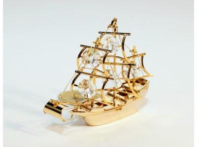 Laivas - statulėlė su Swarovski kristalais