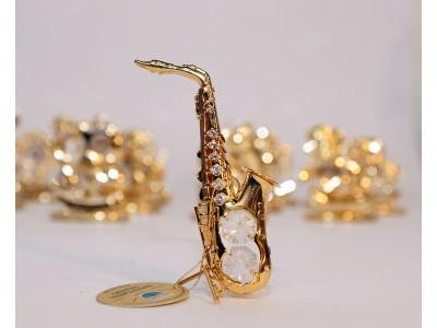 Saksofonas - statulėlė su Swarovski kristalais