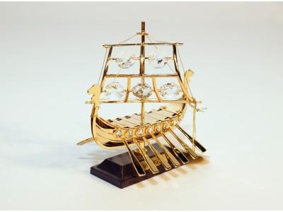 Vikingų laivas - statulėlė su Swarovski kristalais