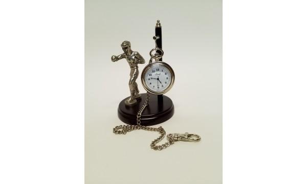 Statulėlė - boksininkas su kišeniniu laikrodžiu