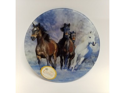 """Dekoratyvinė lėkštė iš stiklo """"Žirgai"""""""