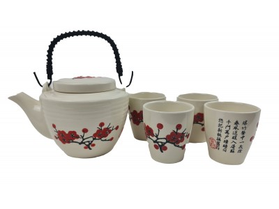 Puodelių rinkinys arbatai - arbatinukas ir 4 pialos