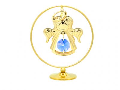 Angeliukas žiede - statulėlė su Swarovski kristalais